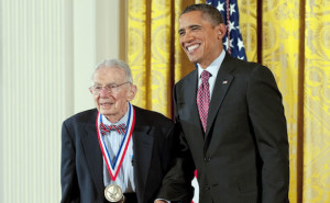 2011 National Medal of Technology and Innovation Laureate Art Rosenfeld with President Obama - February 1, 2013.